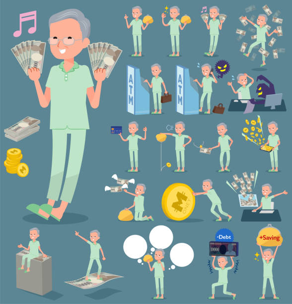 flat type patient grandfather_money - old man pajamas stock illustrations, clip art, cartoons, & icons