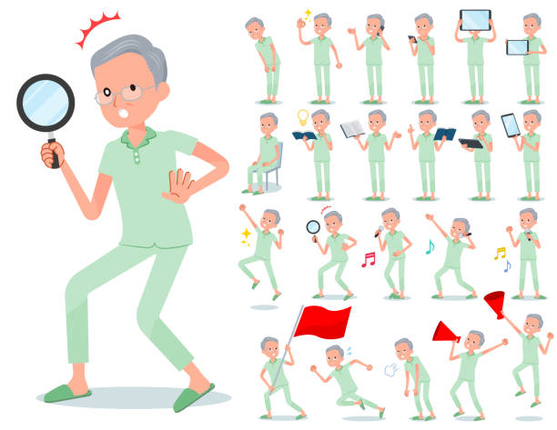 flat type patient old men_action - old man pajamas stock illustrations, clip art, cartoons, & icons