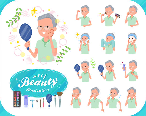flat type patient old men_beauty - old man pajamas stock illustrations, clip art, cartoons, & icons