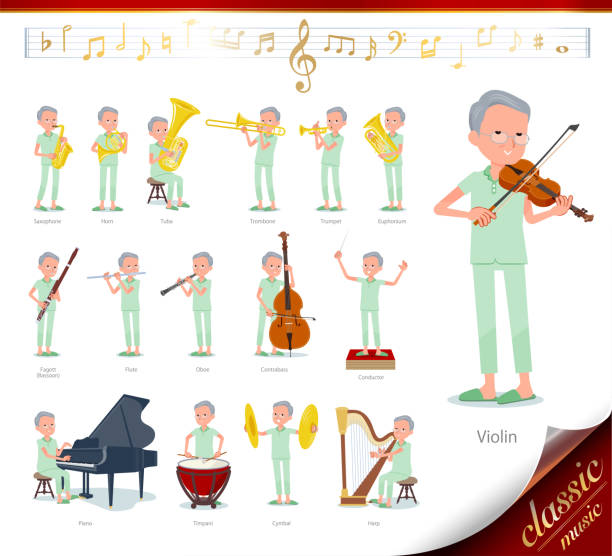flat type patient old men_classic music - old man pajamas stock illustrations, clip art, cartoons, & icons