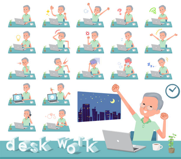 flat type patient old men_desk work - old man pajamas stock illustrations, clip art, cartoons, & icons