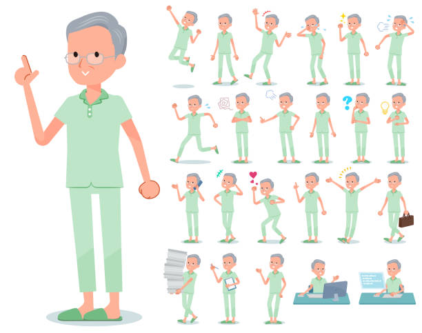 flat type patient old men_emotion - old man pajamas stock illustrations, clip art, cartoons, & icons