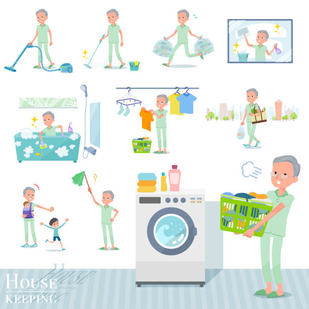flat type patient old men_housekeeping - old man pajamas stock illustrations, clip art, cartoons, & icons