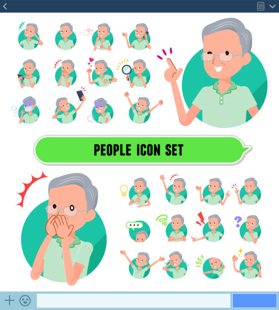 flat type patient old men_icon - old man pajamas stock illustrations, clip art, cartoons, & icons