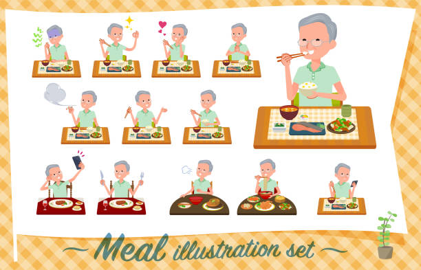 flat type patient old men_meal - old man pajamas stock illustrations, clip art, cartoons, & icons