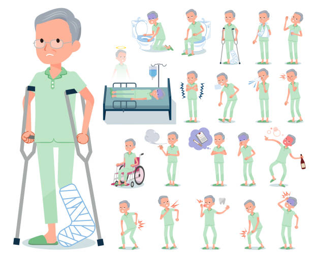 flat type patient old men_sickness - old man pajamas stock illustrations, clip art, cartoons, & icons