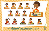 A set of boy about meals.Japanese and Chinese cuisine, Western style dishes and so on.It's vector art so it's easy to edit.