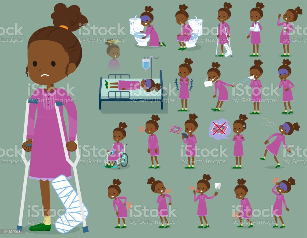flat type perm hair girl black_sickness vector art illustration