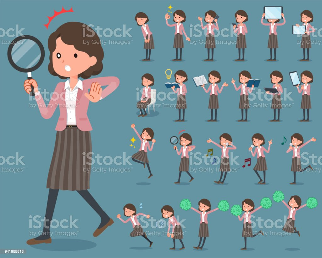 flat type Pink jacket Middle women_2 vector art illustration