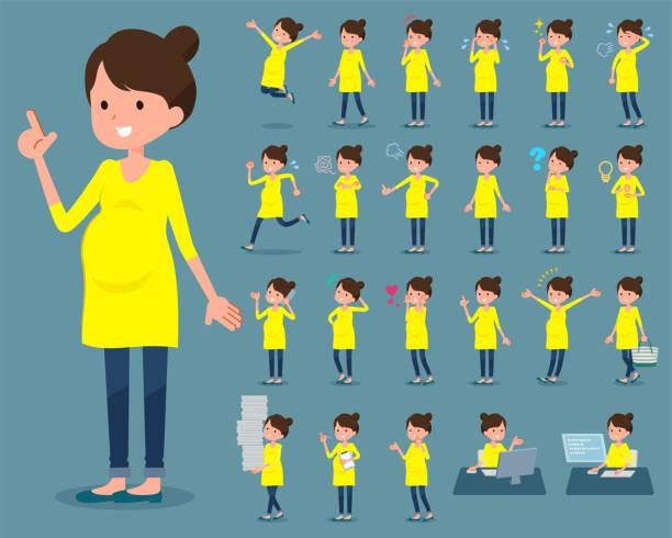 ilustraciones, imágenes clip art, dibujos animados e iconos de stock de tipo plano women_1 embarazada - embarazada