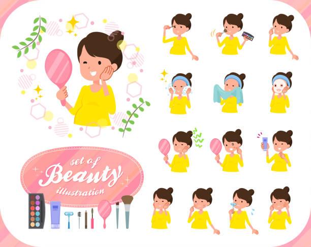 illustrations, cliparts, dessins animés et icônes de appartement type women_beauty enceinte - femme tache de rousseur