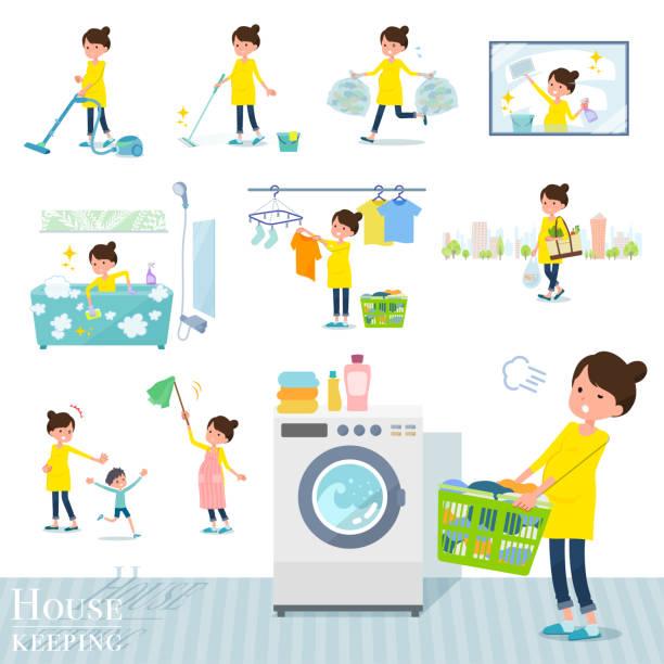bildbanksillustrationer, clip art samt tecknat material och ikoner med platt typ gravid women_housekeeping - japanese bath woman