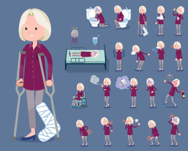 flat type purple shirt old women white_sickness - old man mask stock illustrations