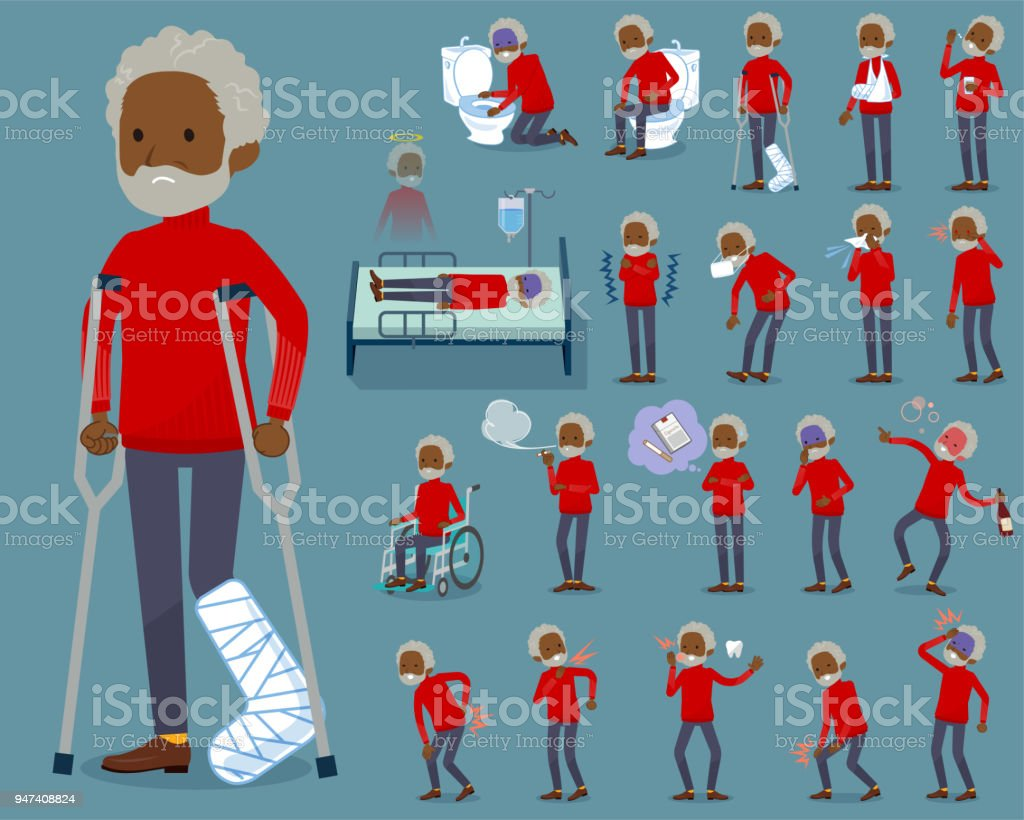 flat type red high neck old man black_sickness vector art illustration