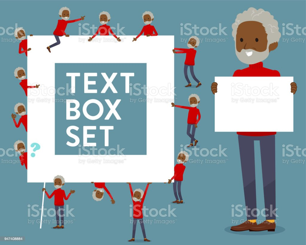 flat type red high neck old man black_text box vector art illustration