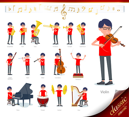 flat type red Tshirt Glasse men_classic music