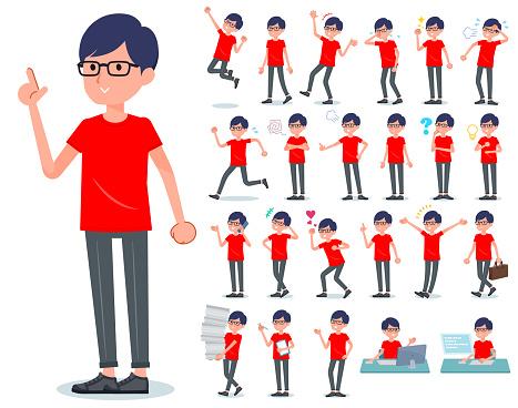 flat type red Tshirt Glasse men_emotion