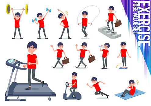 flat type red Tshirt Glasse men_exercise