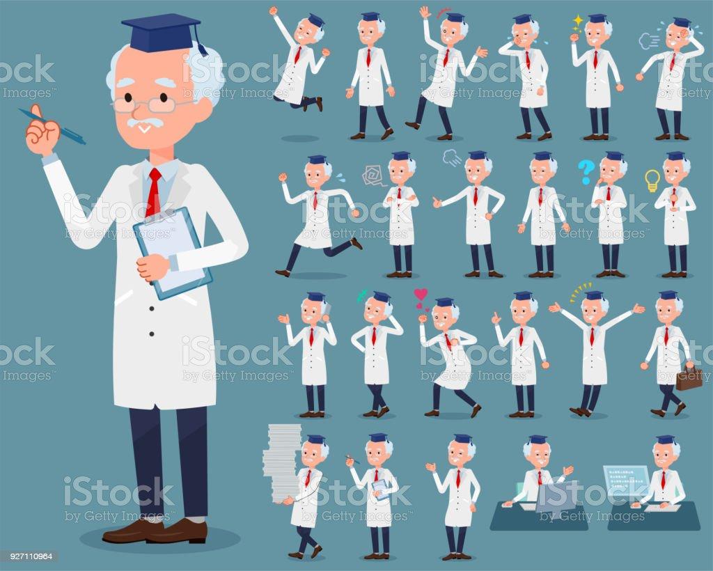 flat type Research Doctor old men_1 vector art illustration