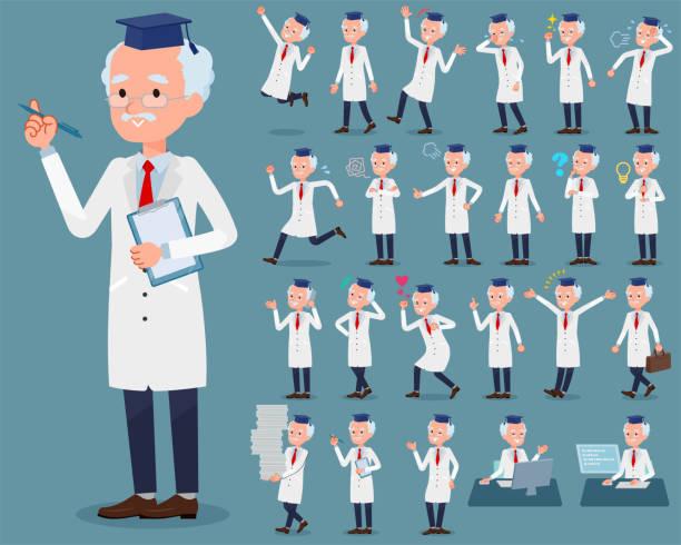 illustrations, cliparts, dessins animés et icônes de appartement type men_1 vieux médecin recherche - professeur d'université