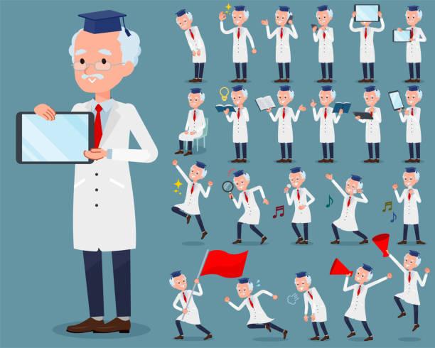 illustrations, cliparts, dessins animés et icônes de appartement type men_2 vieux médecin recherche - professeur d'université