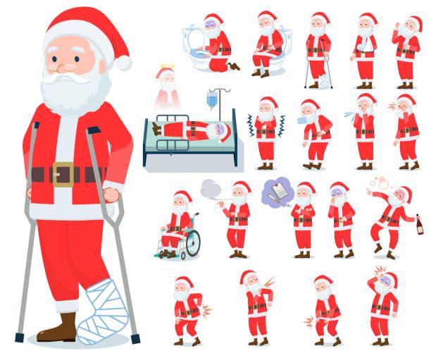 flat type santa claus_sickness - old man mask stock illustrations