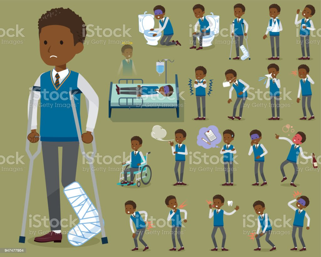 flat type school boy black_sickness vector art illustration