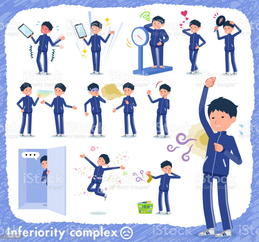 flat type school boy Blue jersey_complex vector art illustration