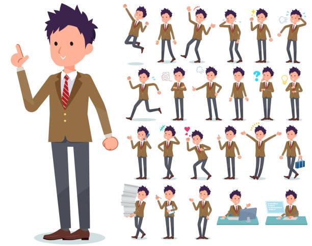 stockillustraties, clipart, cartoons en iconen met platte type school jongen brown blazer_emotion - schooluniform