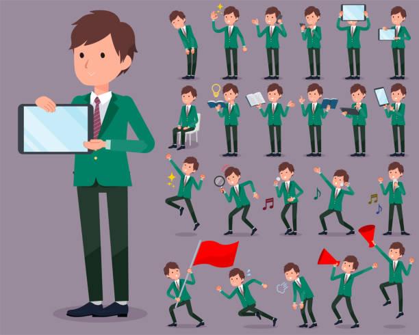 stockillustraties, clipart, cartoons en iconen met platte type school jongen groen blazer_2 - men blazer