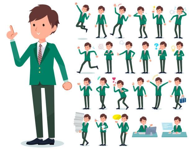 stockillustraties, clipart, cartoons en iconen met platte type school jongen groen blazer_emotion - men blazer