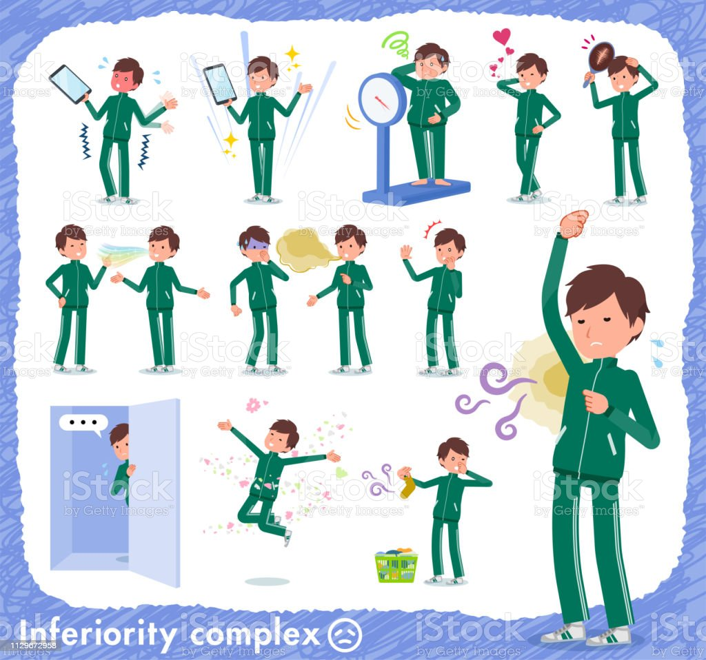 flat type school boy green jersey_complex vector art illustration