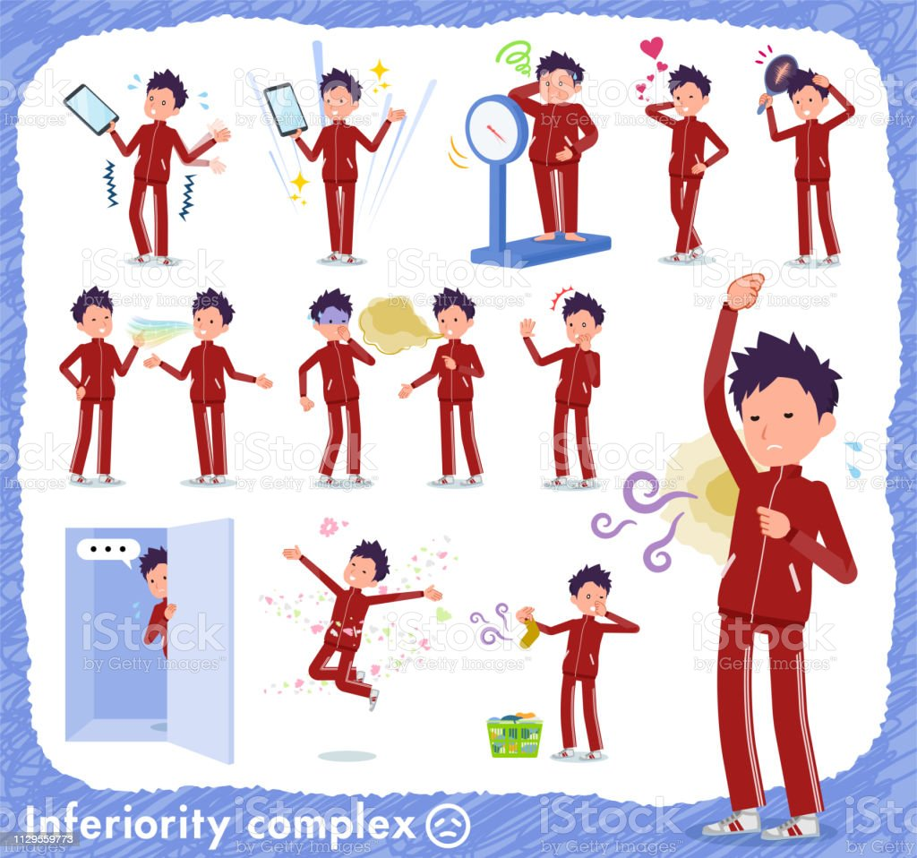 flat type school boy red jersey_complex vector art illustration