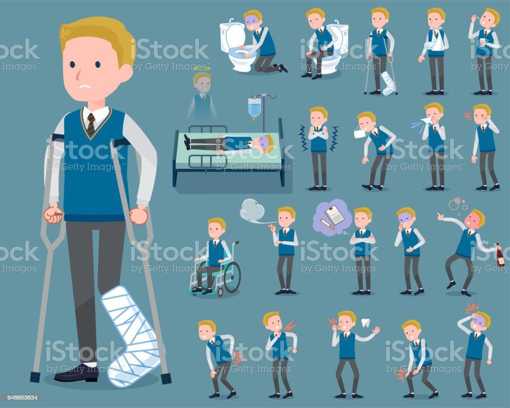 flat type school boy White_sickness vector art illustration