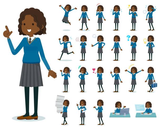 stockillustraties, clipart, cartoons en iconen met platte type school meisje black_emotion - schooluniform