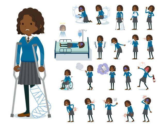 stockillustraties, clipart, cartoons en iconen met platte type school meisje black_sickness - schooluniform