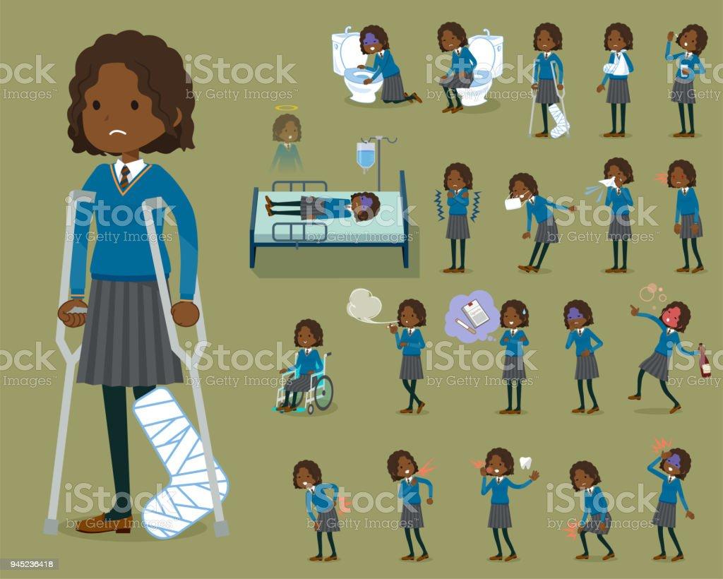 flat type School girl Black_sickness vector art illustration