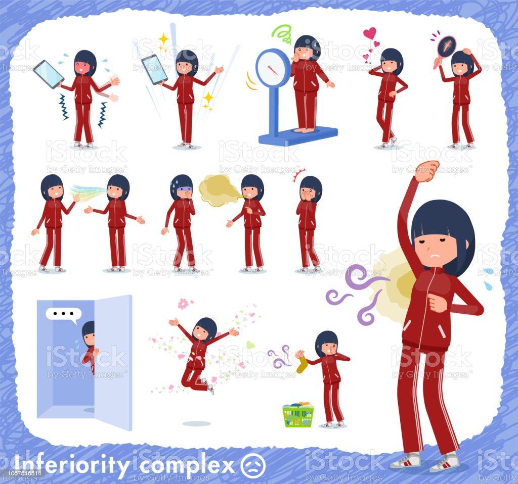 flat type school girl red jersey_complex