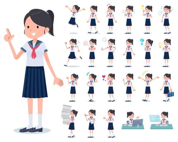 stockillustraties, clipart, cartoons en iconen met flat type school meisje sailor pak summer_emotion - schooluniform
