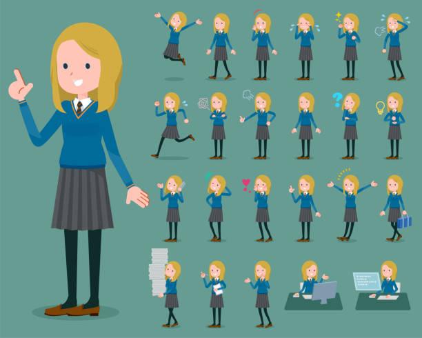 stockillustraties, clipart, cartoons en iconen met platte type school meisje white_1 - schooluniform