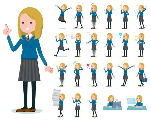 stockillustraties, clipart, cartoons en iconen met platte type school meisje white_emotion - schooluniform