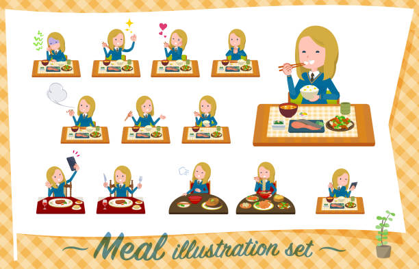 illustrazioni stock, clip art, cartoni animati e icone di tendenza di flat type school girl white_meal - galateo a tavola