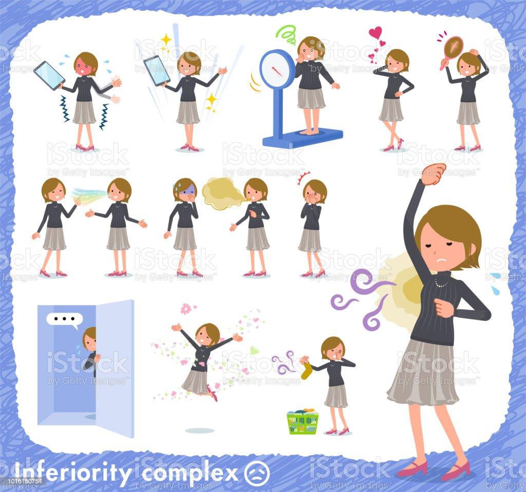 flat type Short hair women_complex vector art illustration