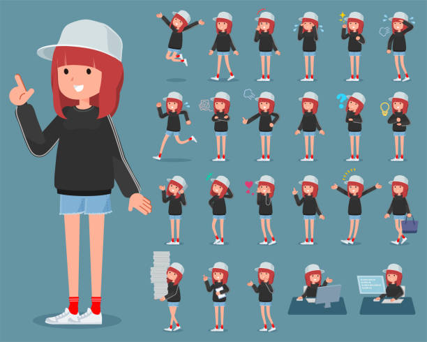 フラット タイプ スポーティな汗摩耗 women_1 - 大学生 パソコン 日本点のイラスト素材/クリップアート素材/マンガ素材/アイコン素材