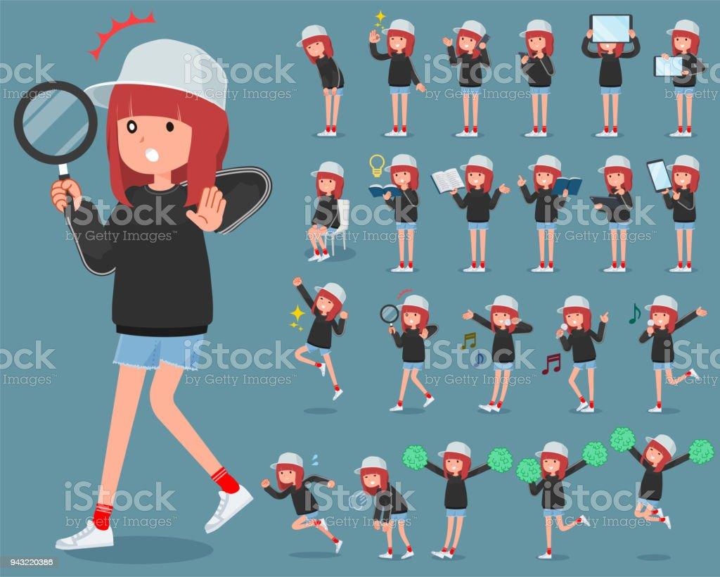 flat type Sporty sweat wear women_2 vector art illustration