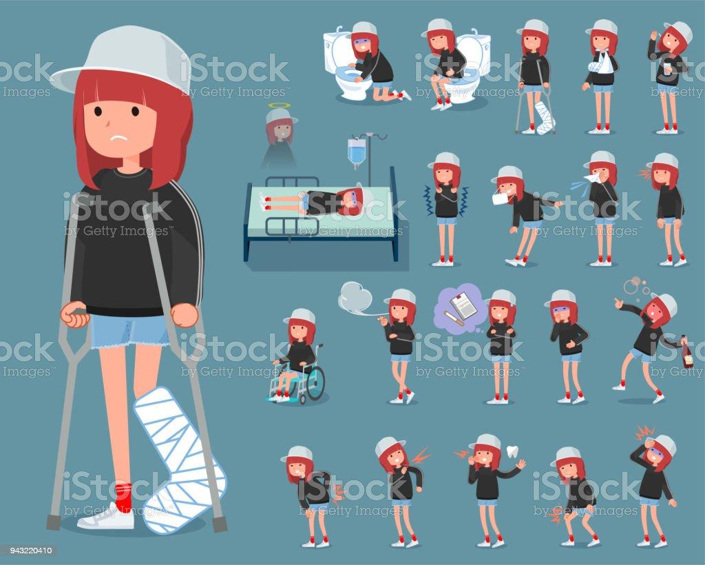 flat type Sporty sweat wear women_sickness vector art illustration