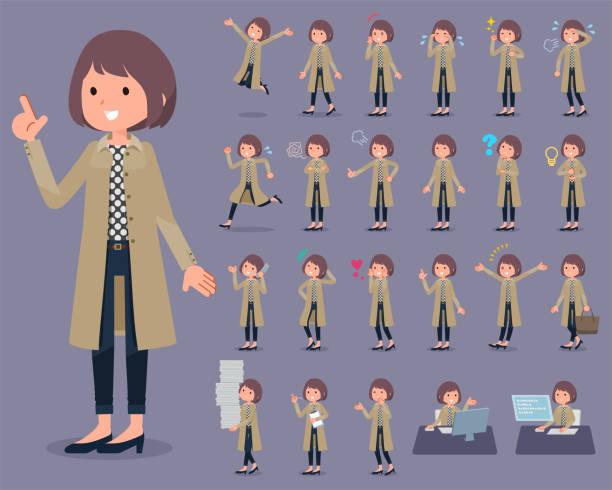 平型秋のスタンド襟のコート着用 women_1 - 大学生 パソコン 日本点のイラスト素材/クリップアート素材/マンガ素材/アイコン素材