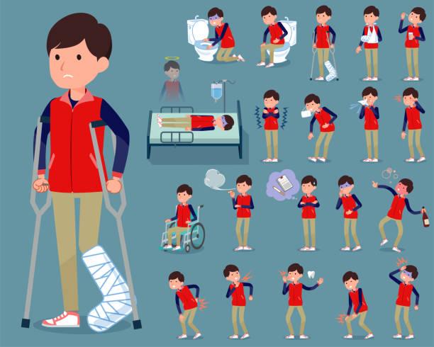 flat type store staff red uniform men_sickness - old man mask stock illustrations, clip art, cartoons, & icons