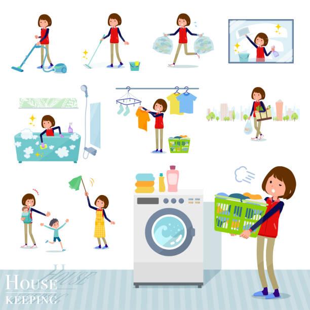 bildbanksillustrationer, clip art samt tecknat material och ikoner med platt typ store personalen röd uniform women_housekeeping - japanese bath woman