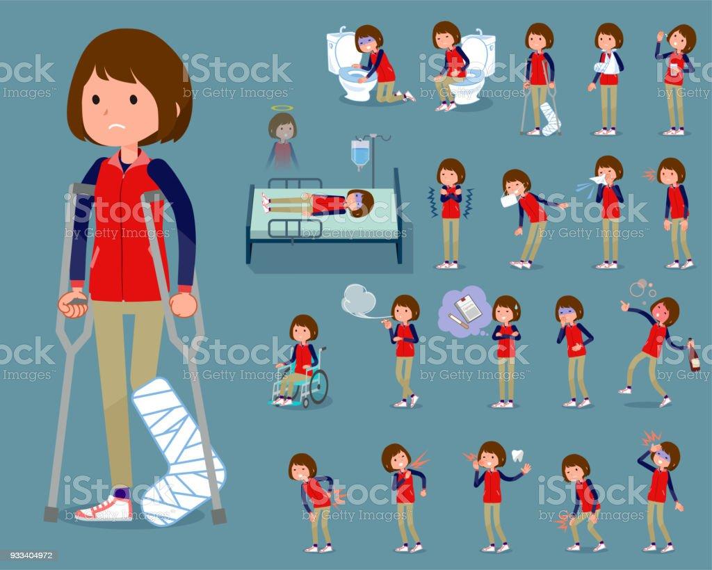 flat type Store staff red uniform women_sickness vector art illustration